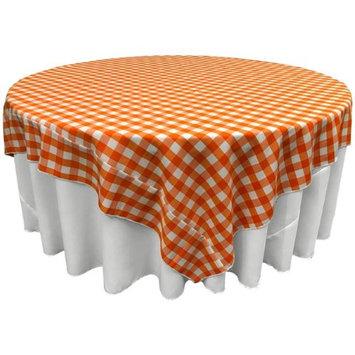 LA Linen TCcheck90x90-OrangeK48 Polyester Gingham Checkered Square Tablecloth White & Orange - 90 x 90 in.