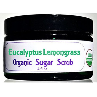 Flowersong Eucalyptus Lemongrass Organic Sugar Scrub - Soften, Moisturize and Exfoliate in One Step