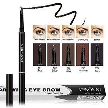 VERONNI Eyebrow Pencil,2 in 1 Perfect Eye Brow Tattoo Pen Waterproof Long Lasting Automatic Smoothy with Brush and Comb Angled Brow Makeup