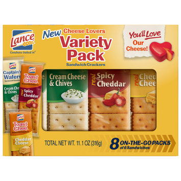 Lance Cheese Lovers Variety Pack Sandwich Crackers, 8 Ct