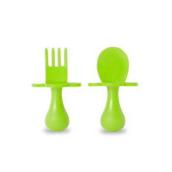 grabease First Training Self Feeding Utensil Set of Spoon and Fork for Toddler and Baby. BPA Free. to-go Pouch (Green)