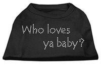 Mirage Pet Products 5282 MDBK Who Loves Ya Baby? Rhinestone Shirts Black M 12