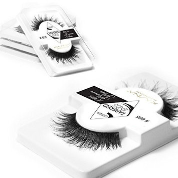 KASINA Professional False Eyelashes #605 Tapered Ends Lashes in 100% Human Hair, Version of Ardell Red Cherry, Pack of 6 [Professional False Eyelashes #605 Tapered Ends Lashes in 100% Human Hair]
