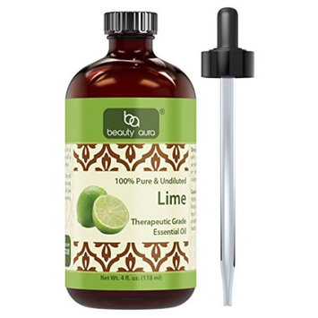 Beauty Aura 100% Pure Lime Oil 4 Fl oz - 100% pure and undiluted - Therapeutic Grade