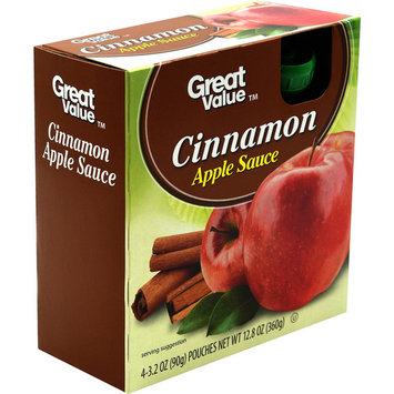 Great Value Cinnamon Apple Sauce Pouches, 12.8 oz, 4 Count