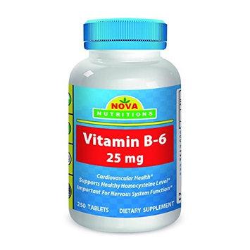 Vitamin B6 25 mg 250 Tablets by Nova Nutritions