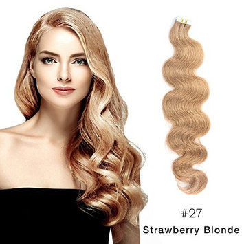 Body Wave Tape in Hair Extensions Remy Human Hair Glue in Extensions Seamless Skin Weft Strawberry Blonde (#27) 16
