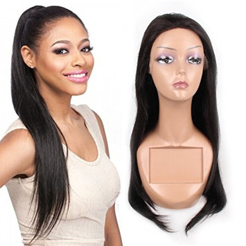 Jiayi Long Straight Lace Front Wigs Glueless 130% Density Brzailian Remy Virgin Human Hair for Afro American Women Natural Color 24inch (1B)