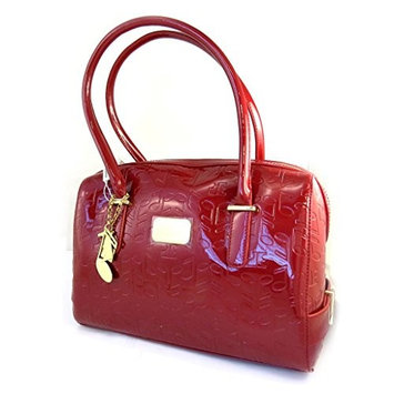 Leather bag 'Jacques Esterel' polish red musical notes.
