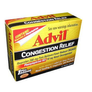 Advil Congestion Relief:Ibuproten 200mg Pain Reliever Fever Reducer (NSAID) Phenylephrine HCI 10 mg Nasal Decongestant 40 Tablets