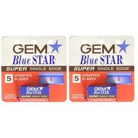 GEM Blue Star Super Single Edge, 5 Ct. (Pack of 2) + FREE Assorted Purse Kit/Cosmetic Bag Bonus Gift