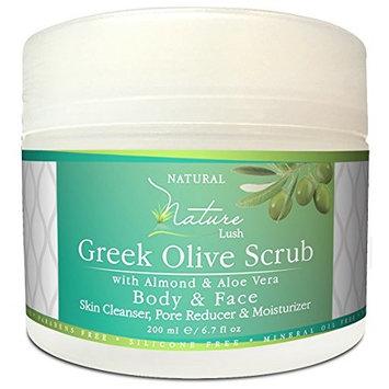 Best Natural & Organic Greek Body Scrub - Almond, Olive Grains & Aloe Vera – Exfoliating Skin, Pore Reducer & Cleanser. Detoxifying, Hydrating & Ultra Moisturizing Formula 6.7oz [Olive Srub]