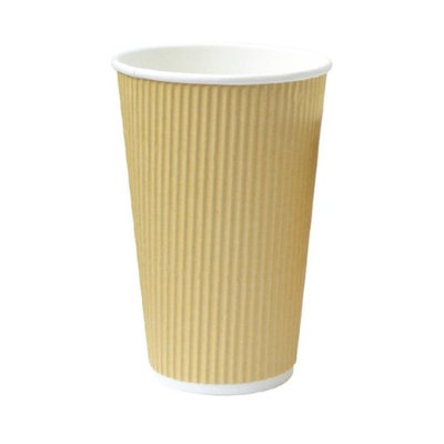 Packnwood 210GCR16BG 16 oz Rippled Beige Cups 3.5 x 5.4 in.