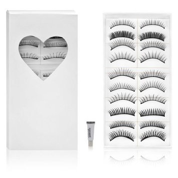 SHANY Cosmetics 10 Pairs of Different Reusable Natural Long False Eyelashes, Black, 0.04 Pound