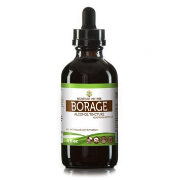 Secrets Of The Tribe Borage Tincture Alcohol Extract, Organic Borage (Borago Officinalis) Dried Flowers and Herb 4 oz
