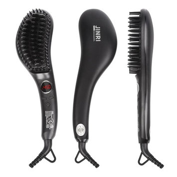 Hair Straightener Brush - Electric Ionic Ceramic Hair Straightening Brush,60 seconds Hot Fast Heating ,Tempreture Lock & Auto Shut Off Function Straightener Brush,Black