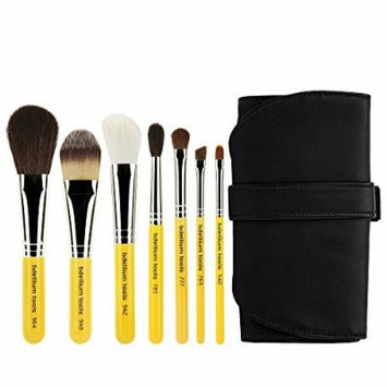 Bdellium Tools Professional Makeup Travel Line Basic 7pc. Brush Set with Roll-Up Pouch