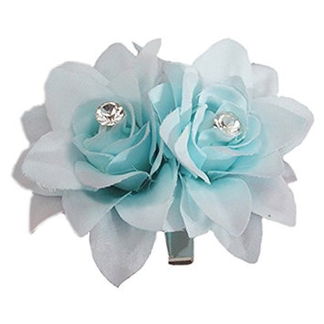 2Pcs Women Wedding Bridal Crystal Flower Brooch Hair Pin with Alligator Clip Hair Accessories