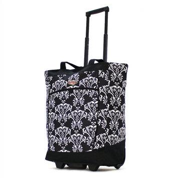 Olympia Luggage Olympia Fashion Damask Black Rolling Shopper Tote