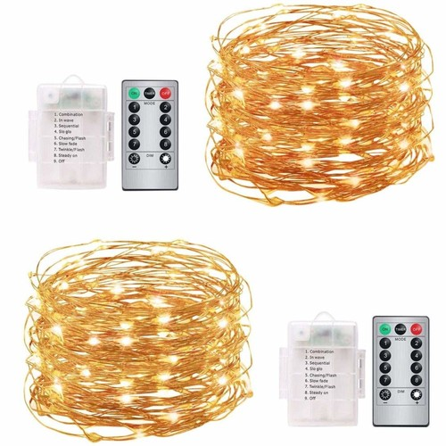 Fairy String Lights Battery Operated Set of 2, HighlifeS Copper Wire String Lights Firefly Lights 16.5ft 50 LEDs   Timer   Remote Control   Indoor Outdoor Decor,Warm White