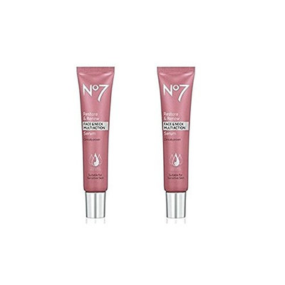 No7 Restore & Renew Face & Neck MULTI ACTION Serum 50ml - 2 pack (100ml total)