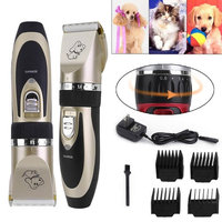 Professional Low Noise Cordless Pet Cat Dog Hair Grooming Trimmer Clipper Kit golden