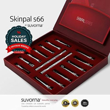 Suvorna Skinpal s66 Blackhead & Whitehead Remover, Cleaner & Comedone Extractor Skin Care 14 Pcs Kit With 2 Detachable Rod. Made with Surgical Steel. Professional and Home User Kit.!