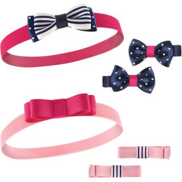 Hudson Baby Navy & Pink Headband & Bow Clip Set