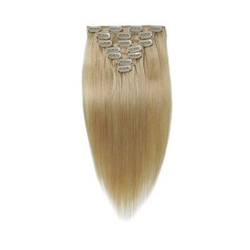 Cheap SYN Hair Extensions 22 Inches Bleach Blonde Clip in/on Hair Extensions Full Head Synthetic Hair for Women 16 Hair Clips 7pcs(#613)