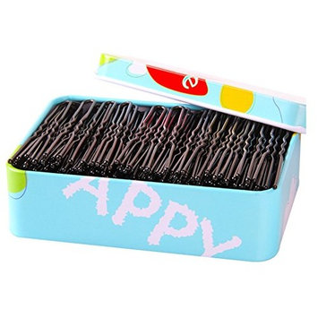 DeroTeno Hair Pins, 150 Pcs U Shape Bobby Hairpins Hair Clips with Storage Box for Girls, Women