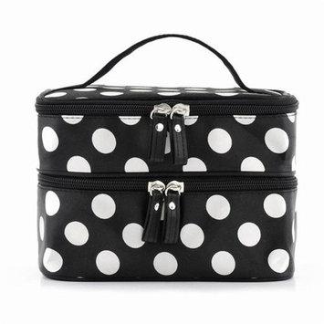 Sonline Black Travel Cosmetics Make Up Bags Beauty Womens Organiser Toiletry Purse Handbag Polka Dots Design Gift