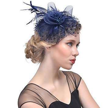BranXin - Women Hair Accessoires Feather Hat Headear Net Mesh Birdcage Veil Hairpin [ navy ]