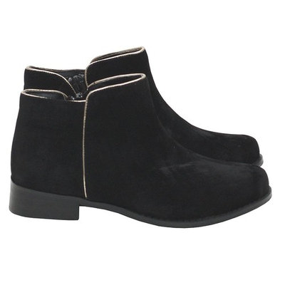 L 'Amour Black Velvet Silver Trim Low Rise Zip Boots Toddler Girl 7-10