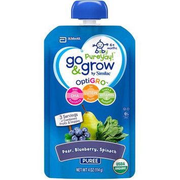 Abbott Nutrition Go & Grow by Similac Pouches with OptiGRO, Pear, Blueberry, Spinach Puree, For 6+ Months, Organic Baby Food, 4 ounces (Pack of 12)