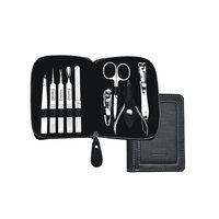 Manicure Set Nail Clippers Kit,OMUDA 9 Pieces Stainless Steel Pedicure Tools [Notebook-Shaped Case]-Nail Grooming Nail Care Tool Beauty Tool Includes Toenail Clipper With Black Portable Travel Case