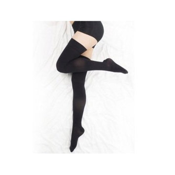 BriteLeafs Opaque Compression Stockings Thigh High Firm Support 20-30 mmHg, Gradient Compression - Large, Black