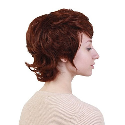 Baoblaze Short Curly Layered Wigs for Women with Bangs Heat Resistant Human Hair Mixed Memory Synthetic Fiber Dark Brown Hair None Lace in Front Cosplay Party Costume Wig