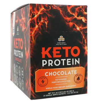 Dr. Axe / Ancient Nutrition, Keto Protein, Ketogenic Performance Fuel, Chocolate, 15 Single Serve Packets, 1.13 oz (32 g) Each [Flavor : Chocolate]