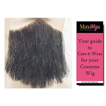 3 point Discount Goatee Color BLACK - Lacey Wigs Beard Synthetic Lace Backed Hand Made Fake Facial Bundle with MaxWigs Costume Wig Care Guide