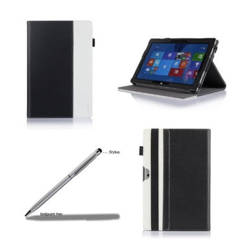ProCase Premium Folio Case with Stand for Microsoft Surface 2 / Surface RT Tablet, Compatible with Microsoft Keyboard, Built-in Stand with Multiple viewing Angles, bonus Stylus Pen included (Brown/Black)
