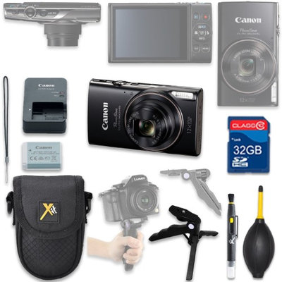 Als Variety Canon PowerShot ELPH 360 HS Digital Camera (Black) with 32GB SD Memory Card + Accessory Bundle