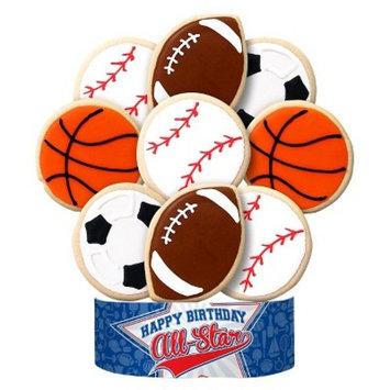 All Star Sports Happy Birthday Cookie Bouquet 9 Cookie Arrangement