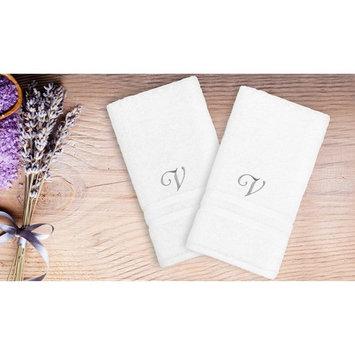 Linum Home Textiles Denzi Hand Towels With Single Letter Script Monogram - Set of 2 [monogram_letter: monogram_letter-h]