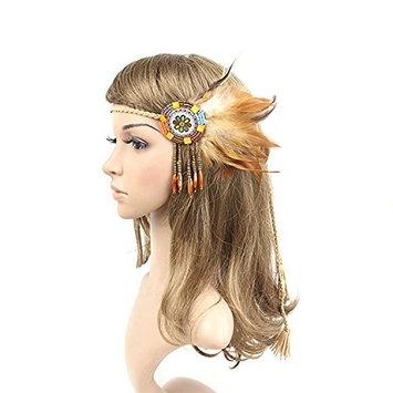 TOOGOO Handmade Retro Indian Style Feather Head Band With Beaded Tassels(light coffee)