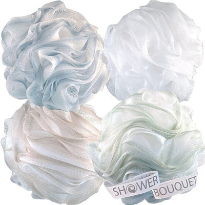 Loofah Bath Sponge XL 75g Soft Set by Shower Bouquet: 4 Pack Pastel Colors - Extra Large Mesh Pouf Scrubber for Men and Women - Exfoliate with a Big Lush Lathering Cleanse & Beauty Bathing Accessories