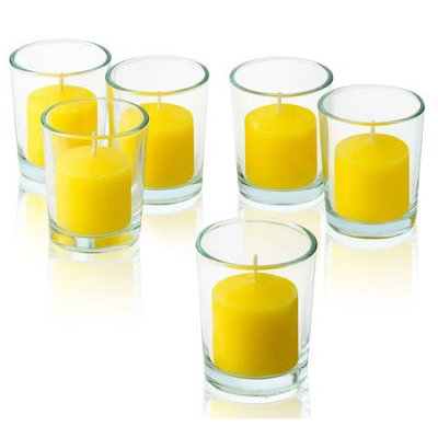 Light In The Dark Clear Glass Round Votive Candle Holders With Citronella Yellow votive candles Burn 10 Hours Set of 72