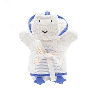 Sapphire giggle Organic Hooded Striped Bath Towel; Mitt Set- Wedgewood