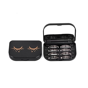 Esharing Fashion Women Girls Acrylic Cute Magnetic Eyelash Storage Box Portable Makeup Cosmetic Mirror Case Organizer