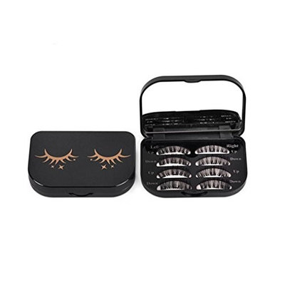 Esharing Fashion Women Girls Acrylic Cute Magnetic Eyelash Storage Box Portable Makeup Cosmetic Mirror Case Organizer