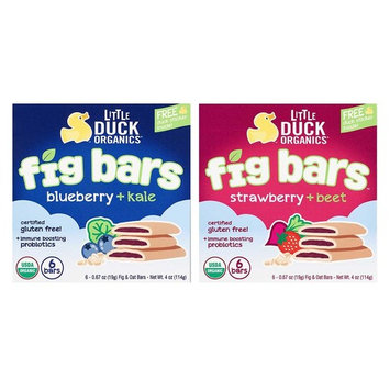 Little Duck Organics Fig Bars Bundle: Blueberry Kale, & Strawberry Beet (1 box of each)